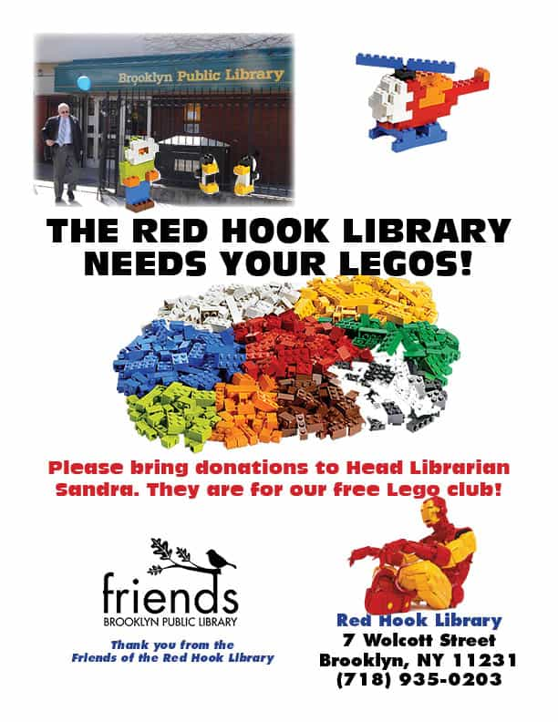 Friends of Red Hook Library inaugurates LEGO drive.